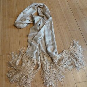 Accessories - DRAMATIC BEIGE SILKY FRINGE BLANKET SCARF 26''X 82